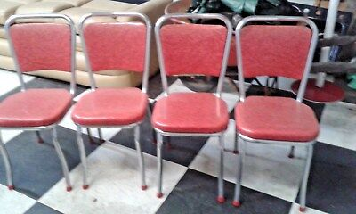 Vintage Retro 50's Chrome Red Diner Kitchen 4 Chair's Original Set