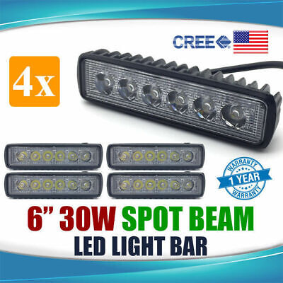 "2 Pairs 6INCH 30W 6"" LED LIGHT BAR SPOT PENCIL BEAM Work Driving Lamp Car 4WD"