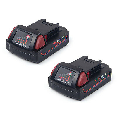 2X Battery For Milwaukee M18 Red Lithium XC 2.0ah 48-11-1828 48-11-1850 CA