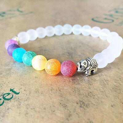 Fashion Chakra Bracelet 7 WHITE with ELEPHANT CHARM , Healing Bracelet Jewelry