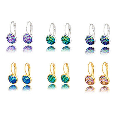 1 Pair Mini Women Mermaid Fish Scale Ear Stud Hoop Colorful Earrings Jewelry