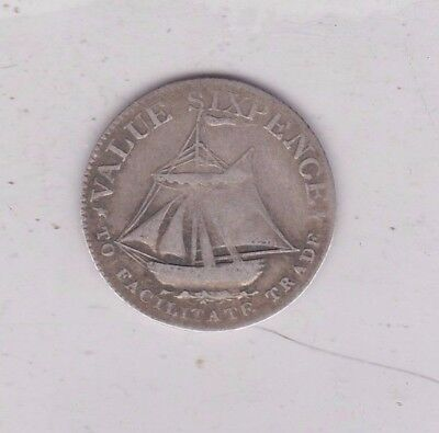 Hampshire 1811 Silver Six Pence Token In A Used Condition