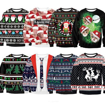 Hot Christmas Xmas Jumper Funny Rude Mens Ladies Novelty Crewneck Sweater Gifts