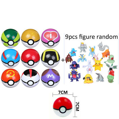 9 Pcs/7cm Pokemon Pokeball Pikachu Pop-up Kids Toys Cartoon Plastic BALL Set