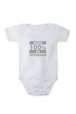 Baby bodysuit with shining silver print Made in Netherlands