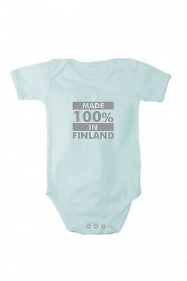 Baby bodysuit with shining silver print Made in Finland