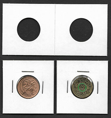 COIN HOLDERS Square 2 x 2 Staple Type 22.5mm Suits $2 & 2c Coins Pack of 50