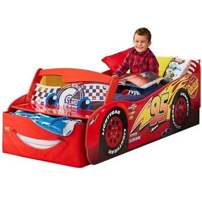 Disney Cars Toddler Bed With Storage Light Up Windscreen + Mattress Options