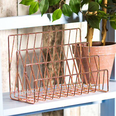 3 Compartment Copper Rose Gold Letter Storage Rack Tray Holder Desk Orgainser