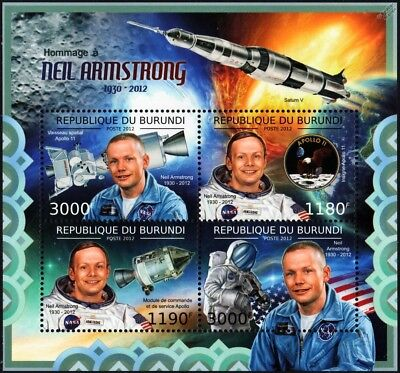 NEIL ARMSTRONG APOLLO 11 Moon Landing / Saturn V Rocket Space Stamp Sheet (2012)