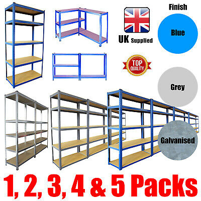 Metal Shelving Industrial Boltless Racking Garage Heavy Duty Shelf Bay Blue Grey