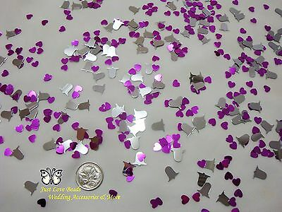 Table Scatters Confetti Silver Bells & Heart - Pink Mix