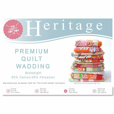 Craft Cotton 3521-02 Heritage Premium Midweight Wadding | Twin Size | 183x305cm
