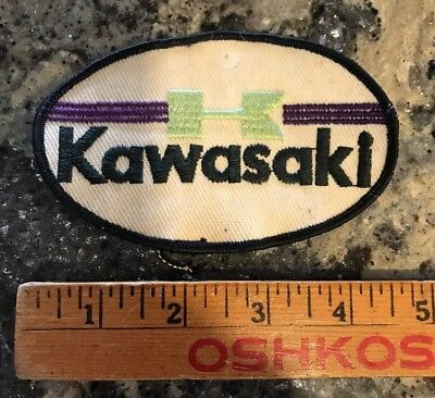 Vintage KAWASAKI Motorcycle Patch 1970's Oval Rare Authentic Purple Green White
