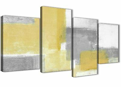 Large Mustard Yellow Grey Abstract Living Room Canvas Decor - 4367 - 130cm