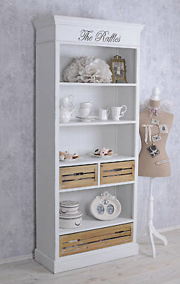 Bücherregal Shabby Regal Weiss Standregal Antik Schrank Holzregal Regalschrank
