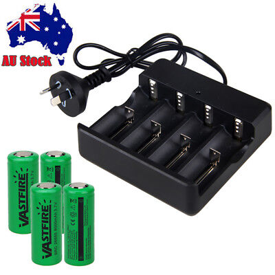 4x VASTFIRE 26650 8000mAh 3.7V Rechargeable Li-ion Battery+ AU Smart Charger