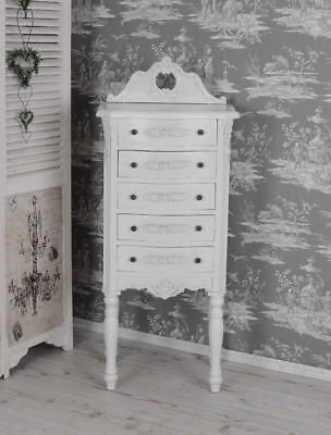 Vintage Chest Of Drawers Shabby Chic White Antique Style Bedside Table