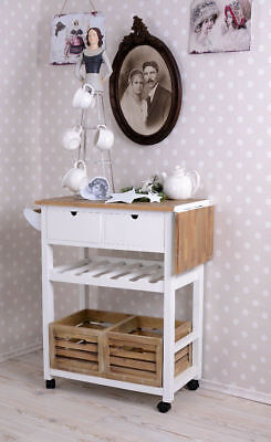 KITCHEN TROLLEY White COUNTRY STYLE KITCHEN CART Console Table wine shelf basket