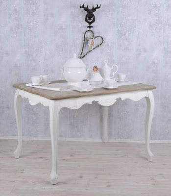 NOSTALGICAL Quality Solid Wooden DINING TABLE KITCHEN TABLE WHITE ANTIQUE TABLE