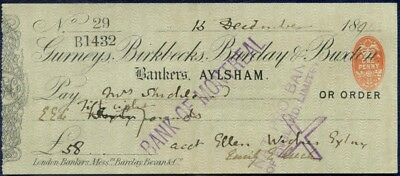 1894 (1893) Gurneys, Birkbecks, Barclay & Buxton Cheque : Aylsham