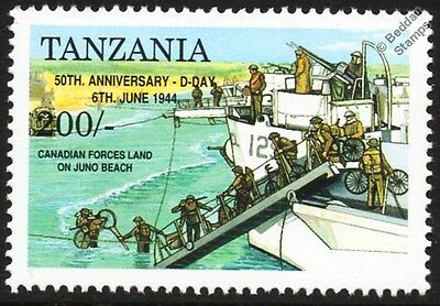 D-Day Canadian Forces at Juno & LCL Landing Craft Logistic Vehicle WWII Stamp