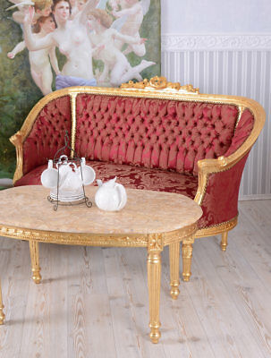 BAROQUE LIVING ROOM SET SOFA SET ARMCHAIR COUCH CANAPÉ Red