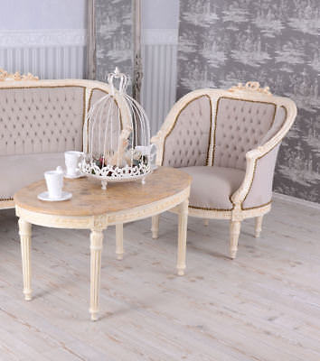 Sofa Set Shabby Chic Canapé Armchair Marble Table Baroque Living Room