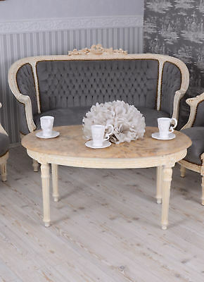 Sofa Set Baroque Armchair & Canapé Vintage Couch Set Shabby Chic