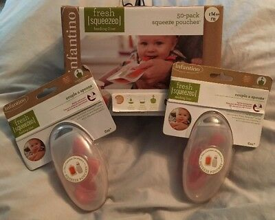 """Infantino Pouches, Pack Of 50 With Two Packs Of """"couple Of Spoons"""" Brand New"""