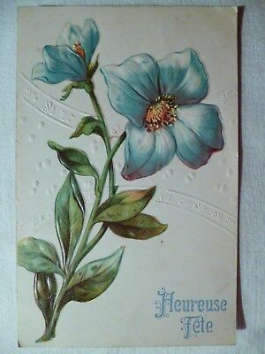 cpa gaufrée illustrateur fleur postcard antique embossed flower cartolina fiore