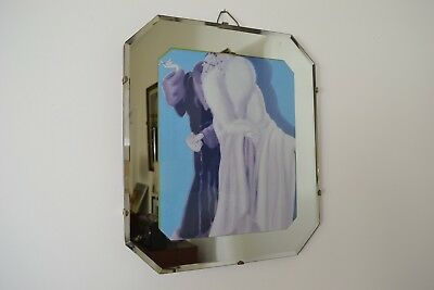 VINTAGE 1930s ART DECO ENGLISH MADE BEVELLED GLASS MIRROR WITH FASHION PICTURE