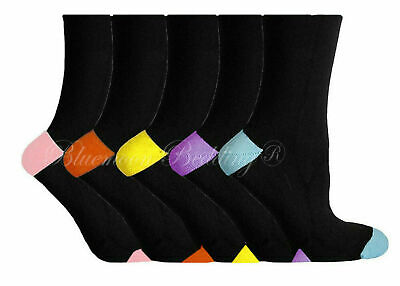 12 Pairs Ladies Women's Coloured Design Cotton Blend Casual Socks Adults 4-8 St