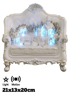 Christmas Animated Winter Wonderland Village Scene on Sofa White Light Up LED