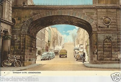 Londonderry Shipquay Gate  old cars lorry Old Unposted Postcard