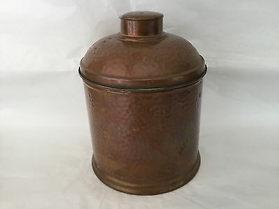 Vintage hand hammered copper humidor with tin lining