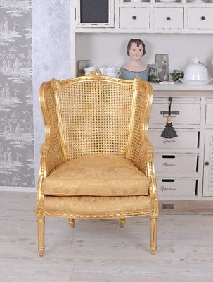 Royal Wing Chair Gold Baroque Style Historical Chair Rococo