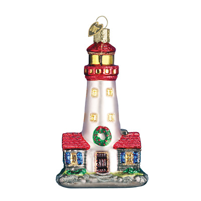 """Lighthouse"" (20003)X Old World Christmas Glass Ornament w/ OWC Box"