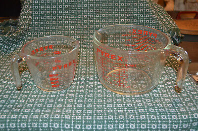 2 Pyrex Glass Measuring Cups With Red Letters 1 Cup And 4 Cup