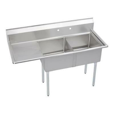 Elkay - S2C18X18-L-18X - 56 1/2 in Two Compartment Sink w/ Left Drainboard