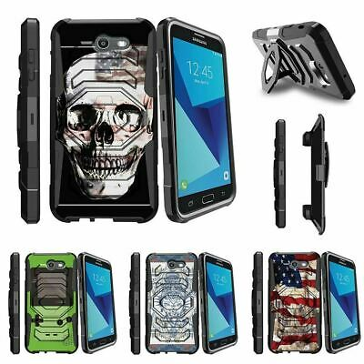For Samsung Galaxy On7 | J7 Prime | J7 Halo (2017) Clip Holster Case USA Skull