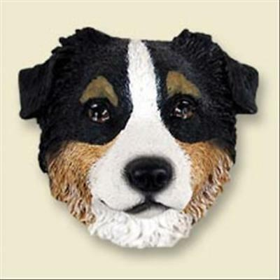 Australian Shepherd Tricolor Dog Head Painted Stone Resin MAGNET