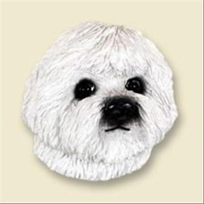 Bichon Frise Dog Head Painted Stone Resin MAGNET