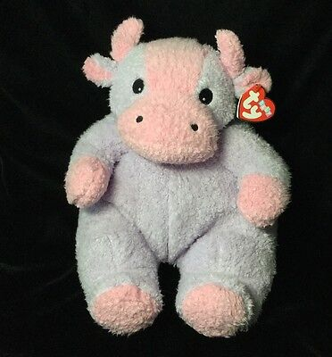 "Ty Baby Moocowbaby Purple Pink Plush Cow Soft Toy Rattle Tags 9"" Stuffed"