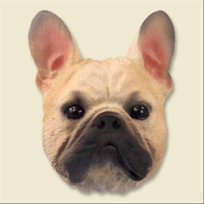 French Bulldog Cream Dog Head Painted Stone Resin MAGNET