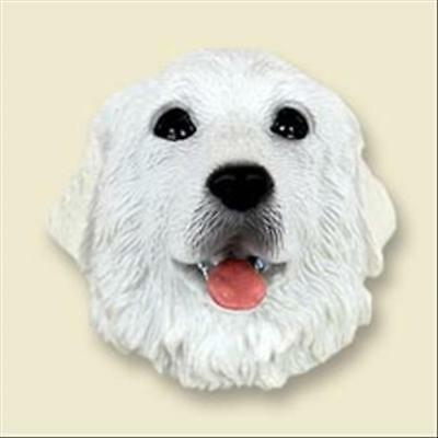 Great Pyrenees Dog Head Painted Stone Resin MAGNET