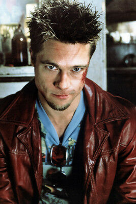Fight Club Brad Pitt iconic in leather jacket moody portrait 24x36 Poster