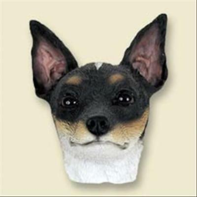 Rat Terrier Dog Head Painted Stone Resin MAGNET