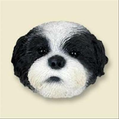 Shih Tzu Black and White Puppy Cut Dog Head Painted Stone Resin MAGNET