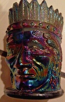 Vtg Blue Carnival Glass Joe St Clair Indian Head Chief Toothpick Holder Signed !
